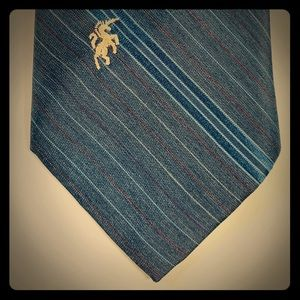 Bronzini Unicorn Neck Tie Blue with stripes